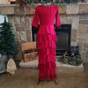 Dainty Jewells Dresses - Ladies Red Dainty Jewells Ruffle Dress